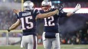 Chris Hogan and Tom Brady celebrate touchdown in New England vs the Steelers