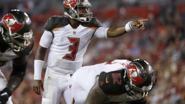 Aug 26, 2016; Tampa, FL, USA;  Tampa Bay Buccaneers quarterback Jameis Winston (3) points and calls a play  against the Cleveland Browns during the first half at Raymond James Stadium. Mandatory Credit: Kim Klement-USA TODAY Sports