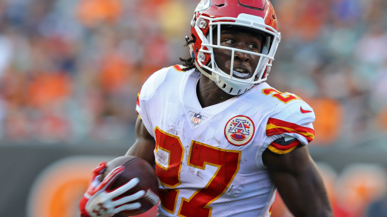 Aug 19, 2017; Cincinnati, OH, USA; Kansas City Chiefs running back Kareem Hunt (27) carries the ball against the Cincinnati Bengals in the first half at Paul Brown Stadium. Mandatory Credit: Aaron Doster-USA TODAY Sports