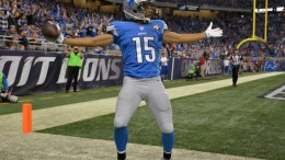 Oct 18, 2015; Detroit, MI, USA; Detroit Lions receiver Golden Tate (15) celebrates after a reception against the Chicago Bears in a NFL game at Ford Field. Mandatory Credit: Kirby Lee-USA TODAY Sports   ORG XMIT: USATSI-224612 ORIG FILE ID:  20151018_cja_al2_143.JPG