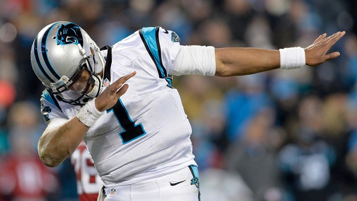 CHARLOTTE, NC - JANUARY 24:  Cam Newton #1 of the Carolina Panthers celebrates during the NFC Championship Game against the Arizona Cardinals at Bank of America Stadium on January 24, 2016 in Charlotte, North Carolina.  (Photo by Grant Halverson/Getty Images)